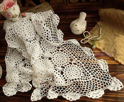 """Vintage Hand Crochet  Lace Table Runner Snowflakes Scallop White Cotton CHIC 42"""""""
