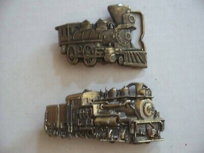 Vintage Lot 1980s BRASS BELT BUCKLES TRAIN Steam Engine No. 9 LOCOMOTIVE # H1086