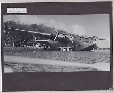 Flying Boat In Hawaii 1930's Hand Printed Silver Halide Photograph On 8X10 Mat
