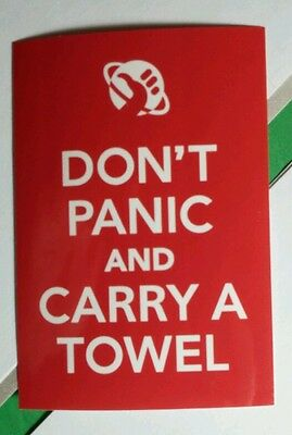 Don't Panic And Carry A Towel Hitchhikers Quide To The Galaxy Red Movie Sticker