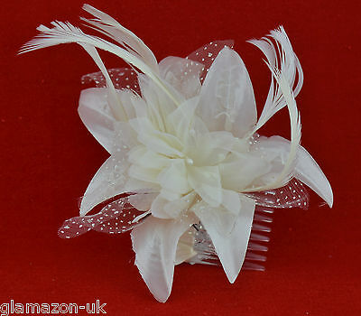Fascinator Cream Flower and Feather on a Clear Comb New UK Free Post