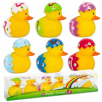 6 Easter Floating Gift Water Small Kids Yellow Bath Fun Time Toy Rubber Duck