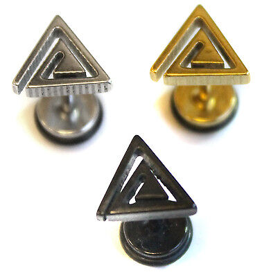 Mens Triangle Spiral Stainless Steel Earrings Plug Faker Stretcher Stud