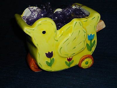 """5.25"""" ceramic YELLOW EASTER CHICK CONTAINER shaped like Wheelbarrow or Cart"""
