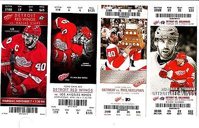 Detroit Red Wings-4 FULL Tickets w/stubs of HENRIK ZETTERBERG, All Star/HOF