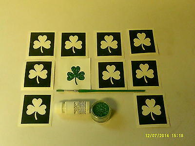 10 x shamrock glitter set inc stencils rugby  Ireland  Irish  football