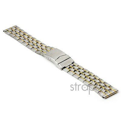 StrapsCo Two Tone Yellow Gold and Silver Stainless Steel Mens Watch Band Strap