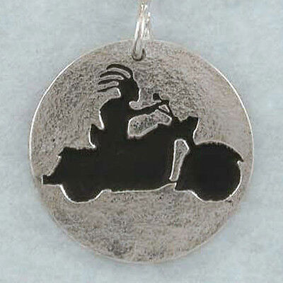 Kokopelli Riding Harley Heritage Classic, Hand Crafted Sterling Silver Pendant