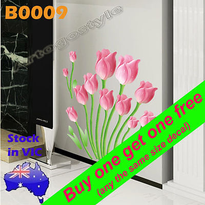 Wall Sticker Decal Tulip flower Lounge Room Furniture Appliance Removable B0009