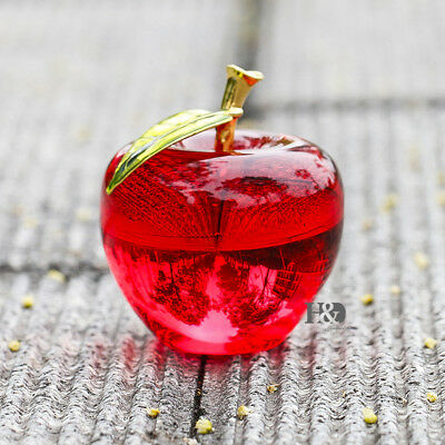 Wholesales 3D Crystal Paperweight Red Glaze Apple Figurine Glass Decoration Gift