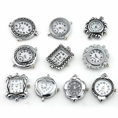 10pcs Assorted Watch Face Silver Plated  Quartz For Beading Wholesale Mixed Lots