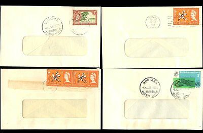 BRITISH SOLOMON Is.1963-67 SMALL COMMERCIAL WINDOW ENVELOPES...4 DIFF.FRANKINGS