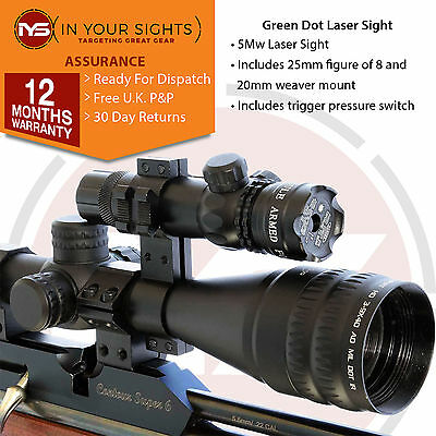 5mw Green dot laser sight / Green laser scope/ Includes trigger switch + mounts