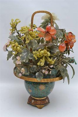 LARGE ANTIQUE 1920s CHINESE CLOISONNE FLOWER POT WITH JADE LEAVES
