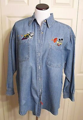 Mickey Unlimited Jerry Leigh Womens Long Sleeve Denim Shirt  Mickey Goofy Sz. 20