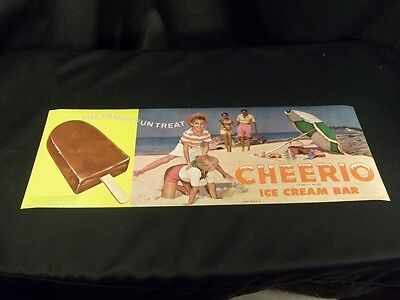 Cheerio Ice Cream Bar 1963 Joe Lowe Litho Print Kids Hopscotch On Beach 17X6""