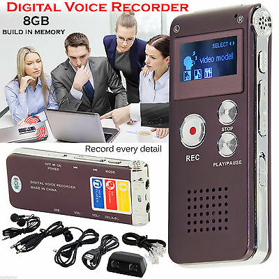 Digital Sound Voice Recorder Dictaphone Rechargeable MP3 Player 8GB Storage UK
