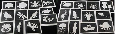 Insect & small animal theme stencils for glitter tattoos / airbrush bunny spider