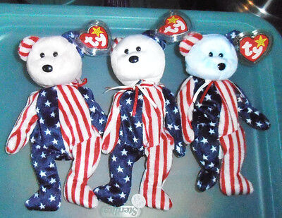 Authentic Ty MWMT's Spangle Set of all 3 Pink/Red, White & Blue Heads