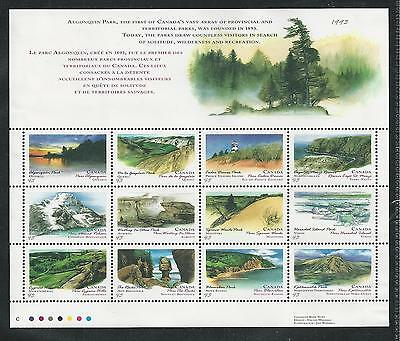 CANADA #1483a MNH PROVINCIAL/TERRITORIAL PARKS Miniature Sheet, Illustrated Top