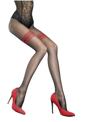 Fiore Patterned Tights Mock Suspender Stockings Tights New