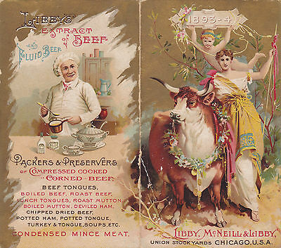 Advertising Calendar 1893-94 LIBBY MCNEILL & LIBBY CORNED BEEF OX TONGUE Chicago