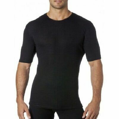 Merino Wool Mens Tee Shirt Short Sleeve Thermal | Black Ivory | Size S M L XL