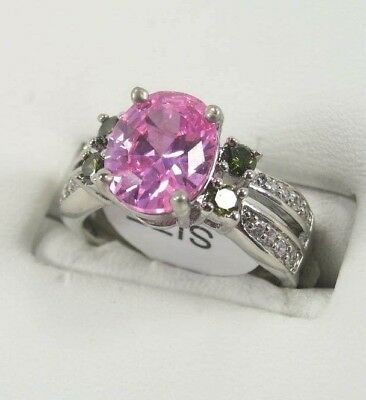 R-1606, 8x10 mm Oval Cut Pink Topaz Gemstone ladies Ring .925 Sterling sp Sz. 6