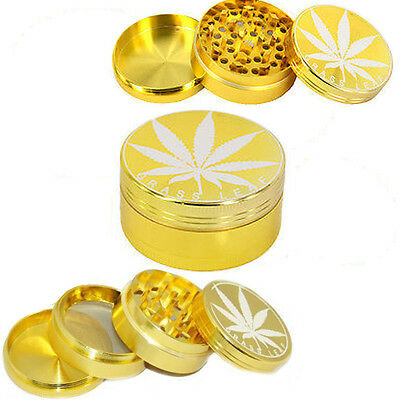 Gold Herb Weed Roll Up Grinder Grass Leaf Crusher New Magnetic Metal Pollinator