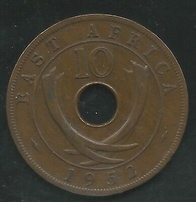 East Africa, British, 1952-H, 10 Cents, Bronze, Km#34, Extra Fine
