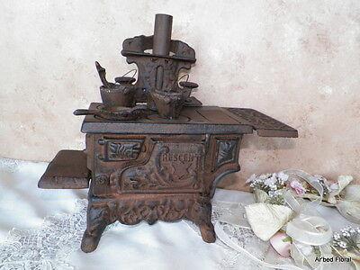 Cast Iron Miniature Stove Set ~ Cresent with Cookware ~ Replicia Wood Burning