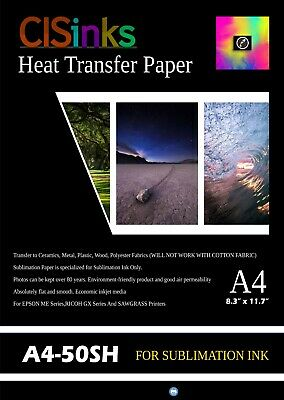 "50 Sheets A4 (8"" x 11.5"") Sublimation Transfer Paper for Specialty Printing"