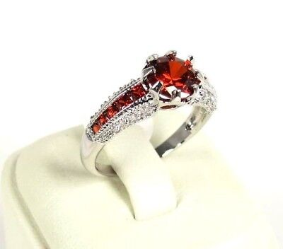 R-2991, 8x8 mm, Round cut Red Garnet Gems Ring .925 Sterling Silver SP Sz 10
