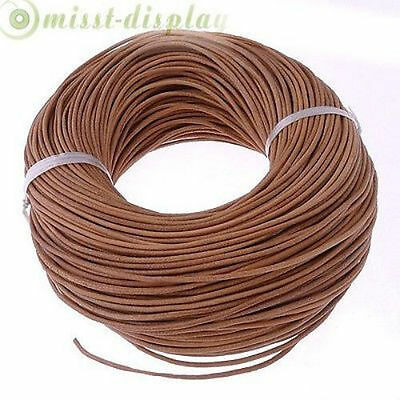 100% Real Genuine Leather Thong Cord 1.5mm 2mm 3mm Natural Brown 5M 10M 50M 100M