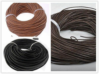 100Meters Real Genuine Leather Thong Cord 1mm 1.5mm 2mm 3mm Black Brown Natural