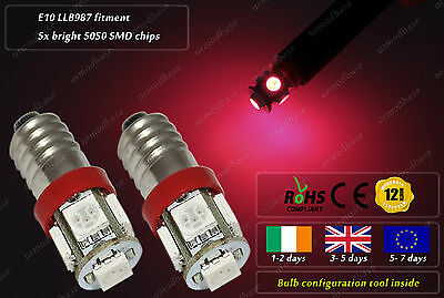2x E10 Screw Base MES LLB987 LED Red Vintage Classic HID Speedometer Bulbs Light