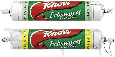 KNORR Germany - 2 x Pea soup ( Erbswurst ) YELLOW + GREEN - SHIPPING FREE