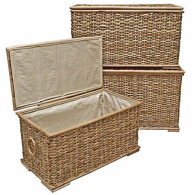 Rattan Wicker Trunk, Lined Storage, Rustic Laundry Basket, Bedroom Bathroom Hall