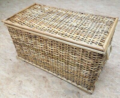 Rustic Laundry Basket, Rattan Lined Storage Chest, Wicker Toy Box - Home Storage