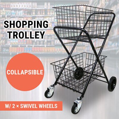 Shopping Trolley Double Basket Swivel Wheel Collapsible Shop Cart 2 Tier Tennis