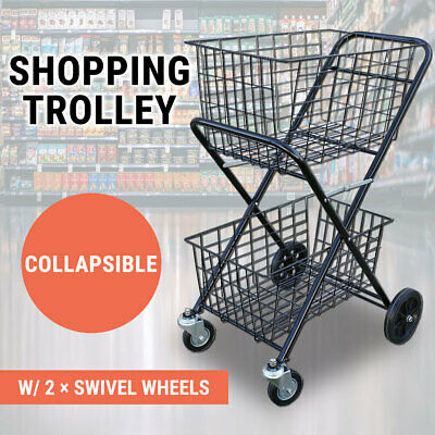 Shopping Trolley Double Basket w/ Swivel Wheel Collapsible Shop Cart 2 Tier