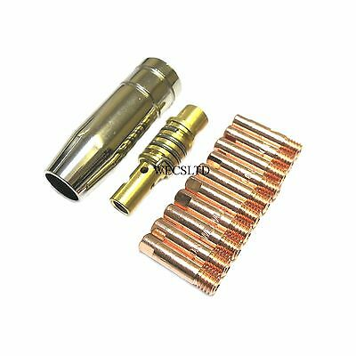 MB 15 Mig Torch Nozzle / Shroud, Tip Adaptor & 10 x Contact Tips