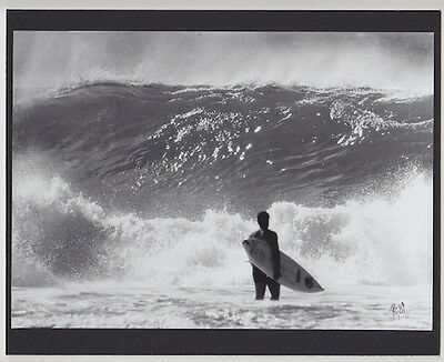 "Surfer Going Out At 'gas Chambers' B&w Hand Printed By Photographer On 8X10"" Mat"