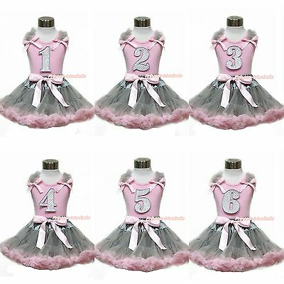 Sparkle 1ST 2ND 3RD 4TH 5TH 6TH Birthday Pink Top Girl Gray Pink Pettiskirt 1-8Y