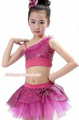 Sparkle Sequins Hot Pink Ruffle Top Ballet Dance Tutu Skirt Costume Set 1-8Year
