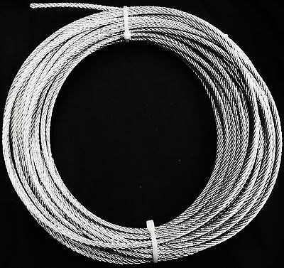 "100 Foot Roll 3/16"" Snare Cable 7X7 Aircraft Galvanized Steel Wire Trapping Trap"