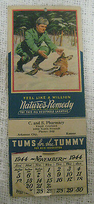 Vintage 1944 TUMS Advertising Calendar Antacid Nature's Remedy Laxative 1940's