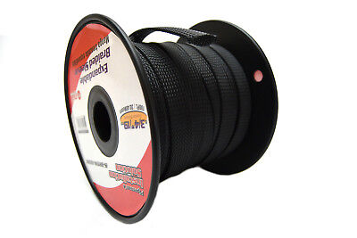 3/4 100Ft Braided Expandable Sleeving Tech Flex Harness Loom  Wire Cover Black