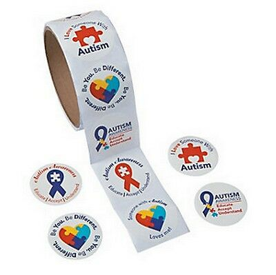 Autism Awareness STICKERS Puzzle Piece Ribbon Aspergers Lot of 100 pcs