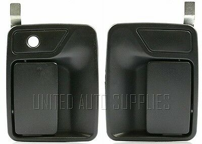 Pair Front Outside Door Handle Textured Black for 99-14 Ford F Super Duty Truck
